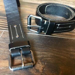 Lands End leather grain belts (2)